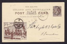 """1900 - 1 P. Bild Ganzsache """"A Refresher Newton Park"""" - Ab Jailding Nach Dunedin - 1855-1907 Colonie Britannique"""