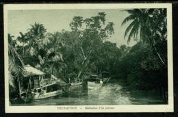 Ref 1303 - Early Postcard - Fishing Village Thudaumot - Saigon Vietnam - Vietnam