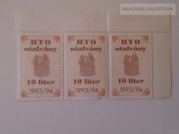 KA406.7 Hungary  HTO Utalvány  10 Liter  1993/93  Lot Of 3 Pcs - Billets