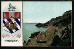 Ref 1303 - Super Early Coat Of Arms Postcard - Torquay Devon - Meadfoot Beach - Torquay