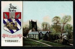 Ref 1303 - Super Early Coat Of Arms Postcard - Torquay Devon - Cockington Church & Court - Torquay