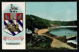 Ref 1303 - Super Early Coat Of Arms Postcard - Torquay Devon - Babbicombe Beach - Torquay