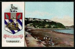 Ref 1303 - Super Early Coat Of Arms Postcard - Torquay Devon - Tor Abbey Sands - Torquay