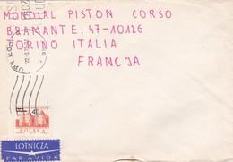 BUSTA VIAGGIATA PAR AVION - POLONIA  - VIAGGIATA PER MONDIAL PISTON -TORINO / ITALIA - 1944-.... Repubblica