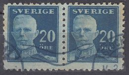 SVERIGE - SVEZIA - SWEDEN - 1920 - Due Valori Yvert 129a Usati, Uniti Fra Loro, Di Seconda Scelta. - Svezia