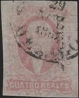 J) 1861 MEXICO, HIDALGO, 4 REALES RED, MEXICO GOTHIC, CIRCULAR CANCELLATION, MN - Mexico
