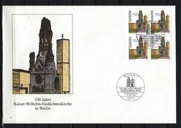 BUND - FDC Mi-Nr. 1812 Viererblock - 100 Jahre Kaiser-Wilhelm-Gedächtniskirche Berlin - BRD