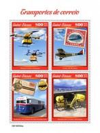 Guinea Bissau 2019, Postal Trasport, Drone, Plane, Bike, Stamp On Stamp, 4val In BF - Airplanes