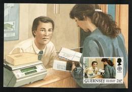Guernsey 1990  Mi.Nr. 486 , EUROPA CEPT Postalische Einrichtungen - Maximum Card - Guernsey Post Office 27. FEB 1990 - Europa-CEPT