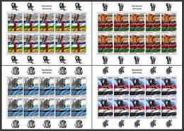 Angola 2019, African Flags, Lion, Eagle, Elephant, 4sheetlet - Arends & Roofvogels