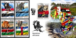 Angola 2019, African Flags, Lion, Eagle, Elephant, 4val In BF +BF - Arends & Roofvogels