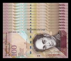Venezuela Lot Bundle 10 Banknotes 100 Bolívares 2015 Pick 93j SC UNC - Venezuela