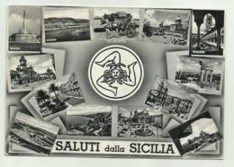 SALUTI DALLA SICILIA - VEDUTE DELLE CITTA'  VIAGGIATA  FG - Italien