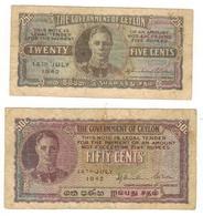 Ceylon (Sri Lanka) 25 & 50 Cents 1942, USED, See Scan. - Sri Lanka
