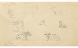"""École Française Du XIXème Siècle, Dessin Au Crayon Noir """"Étude De Vaches"""". - Drawings"""