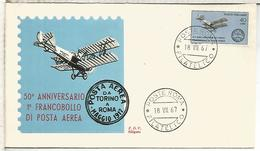 ITALIA FDC 1967 50 AÑOS SELLOS CORREO AEREO AVION PLANE - Aviones