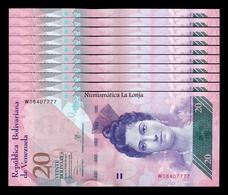 Venezuela Lot Bundle 10 Banknotes 20 Bolívares 2013 Pick 91f SC UNC - Venezuela