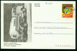 GA Angola Postal Stationary 1984 Postcard Used   7 Years Of Sonangol, Cistern Of The Distribution Of Illuminating Oil - Angola