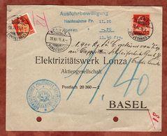 Nachnahme, Helvetia U.a., Ausfuhrbewilligung, Bern Bundeshaus Nach Basel 1915 (75054) - Briefe U. Dokumente