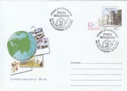 MOLDAVIAN POST ANNIVERSARY, COVER STATIONERY, ENTIER POSTAL, OBLIT FDC, 2003, MOLDOVA - Moldawien (Moldau)