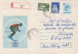 OLYMPIC GAMES, INNSBRUCK'76, WINTER, SKIING, BIATHLON, REGISTERED COVER STATIONERY, ENTIER POSTAL, 1977, ROMANIA - Winter 1976: Innsbruck