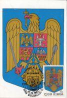 COAT OF ARMS, ROMANIAN REPUBLIC, CM, MAXICARD, CARTES MAXIMUM, 1993, ROMANIA - Enveloppes