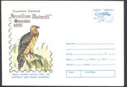 BIRDS, BEARDED VULTURE, COVER STATIONERY, ENTIER POSTAL, 1995, ROMANIA - Arends & Roofvogels