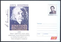 FAMOUS PEOPLE, ALBERT EINSTEIN, SCIENTIST, COVER STATIONERY, ENTIER POSTAL, 2005, ROMANIA - Albert Einstein