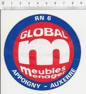 (état Usagé) Autocollant Sticker Publicité Global Meubles Aooigny-Auxerre 21ADH18 - Autocollants