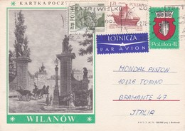 CARTOLINA POSTALE PAR AVION - POLONIA  - VIAGGIATA PER MONDIAL PISTON -TORINO / ITALIA - 1944-.... Repubblica