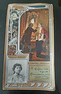 LU CHROMO GAUFFREE FELICIA MALLET LOIR LUIGI EDITEUR  PECAUD ANTIQUE EMBOSSED TRADE CARD LEFEVRE UTILE BISCUIT - Lu