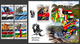ANGOLA 2019 - African Flags, Eagles, 4v + S/S. Official Issue - Arends & Roofvogels