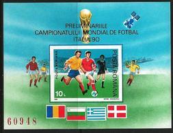 Romania 1990 Scott 3595 MNH Imperforated Sheet, World Cup Football Italy - Nuovi