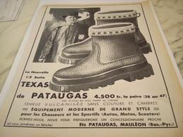 ANCIENNE PUBLICITE  CHAUSSURE PATAUGAS DE MAULEON 1954 - Vintage Clothes & Linen