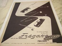 ANCIENNE   PUBLICITE VOITURE LA VOITURE SERIEUSE FREGATE RENAULT 1954 - Voitures
