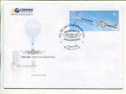 AERO CLUB ARGENTINO. ARGENTINA AÑO 2008 SOBRE PRIMER DIA ENVELOPE FDC  -LILHU - Aviones