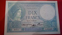 Billet Parfait état 10 Francs Minerve 1940 - 1871-1952 Circulated During XXth