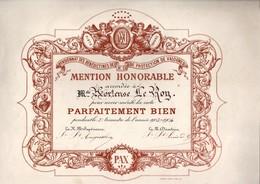 """Pensionnat Des Bénédictines De Valognes - Diplôme """"parfaitement Bien"""" 1904 - 32 Cm X 25 Cm - Diploma & School Reports"""