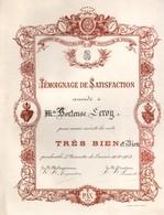 """Pensionnat Des Bénédictines De Valognes - Témoignage De Satisfaction """"très Bien"""" 1903 - 28 Cm X 23 Cm - Diploma & School Reports"""