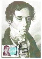 France  2019 CM : Augustin Fresnel (1788 - 1827). Obliteration 1er Jour 03/05/2019 Plevenon. - Cartoline Maximum