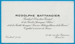 """Carte De Visite RODOLPHE BATTANDIER Président-Directeur-Général SA """"SOLENE"""" (Foncier - Bourse) 75002 PARIS - Visiting Cards"""