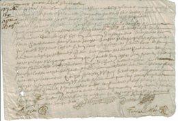 1690 - Document Manuscrit - Cachet Généralité D'Alençon - Taxe De 6 Deniers + 2 Deniers Le 1/4 De Feuille - Seals Of Generality