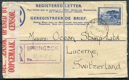 1940 South Africa Springbok Uprated Registered Letter - LUCERNE SWITZERLAND. Censor - South Africa (...-1961)