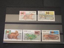 CAMBOGIA - 1993 ANIMALI 5 VALORI - NUOVI(++) - Cambodge