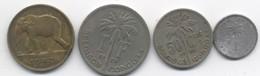 BELGIQUE CONGO  5 FRANCS 1947 + 50 CENTIMES ALBERT 1924 + 1 FRANC ALBERT 1929  + 50 CENTIMES 1955 - Sonstige