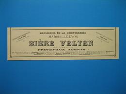 (1906) Brasseries De La Méditerranée Marseille-Lyon - BIÈRE VELTEN - - Vieux Papiers