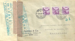 """Zensur Brief  """"Zumstein, Bern"""" - Barcelona              1938 - Suisse"""