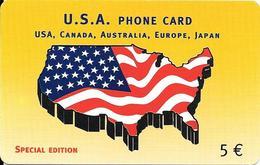 CARTE PREPAYEE-ITALIE-ALBACOM-5€-DRAPEAU Et CARTE USA-UTILISE TBE-RARE - Italie