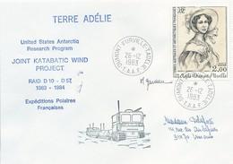 TAAF - Dumont D'Urville-T.Adélie: Lettre Avec Timbre Poste Aérienne N°68 Adèle Dumont D'Urville - 26/12/1983 - French Southern And Antarctic Territories (TAAF)