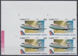 2009.310 CUBA 2009 MNH 65c  PROOF IMPERFORATE 80 ANIV CUBANA DE AVIACION IL-82 AIRPLANE AVION BLOCK 4. - Cuba